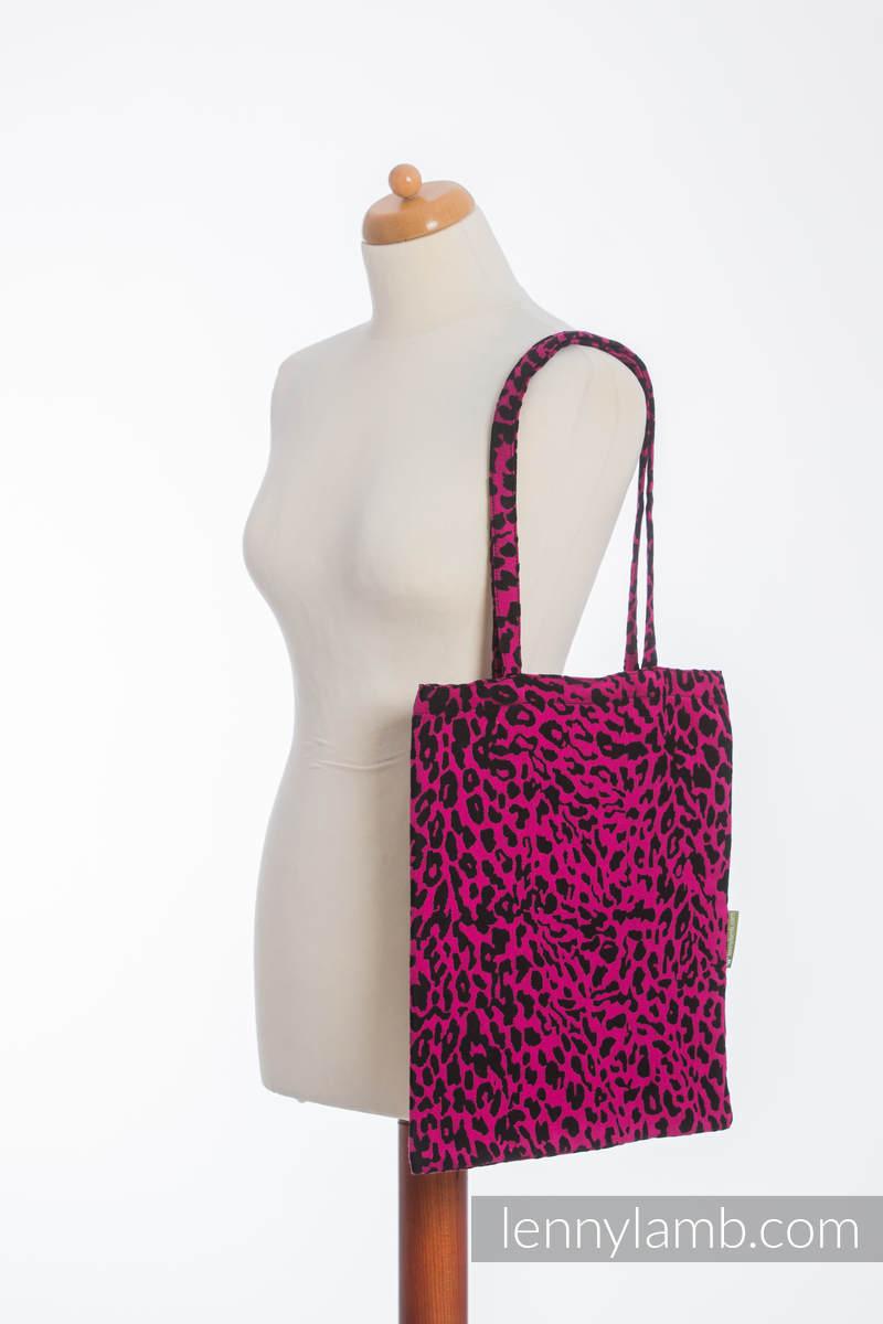 einkaufstasche hergestellt aus gewebtem stoff 100 baumwolle cheetah schwarz pink. Black Bedroom Furniture Sets. Home Design Ideas