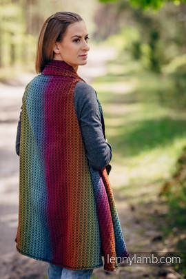 Langer Cardigan - Größe S/M - Little Love Rainbow Dark