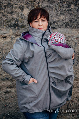 Tragejacke - Softshell - Graue Melange  mit Little Herringbone Inspiration - size 6XL