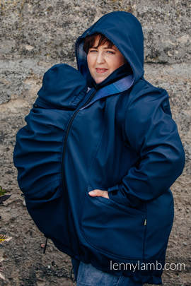 Tragejacke - Softshell - Dunkelblau mit Little Herringbone Illusion - size 6XL